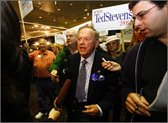 Embattled Sen. Ted Stevens, R-Alaska, who is fightng corruption charges, won his state's primary, allowing him to seek re-election. Here, Steven is seen at his election night headquarters in Anchorage on Tuesday.