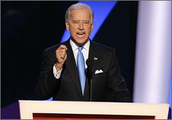 Sen. Joe Biden speaks at the Democratic National Convention after being introduced as the candidate for vice president.