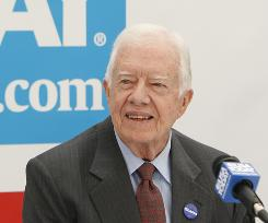 Former president Jimmy Carter speaks to USA TODAY reporters and editors Thursday at the Democratic National Convention in Denver.