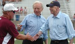 Sen. Joseph Lieberman, I-Conn., campaigns with Republican John McCain in August at Manheim Central High School in Manheim, Pa. Lieberman was on the Democratic presidential ticket in 2000 but will address GOP delegates at the Republican National Convention in St. Paul