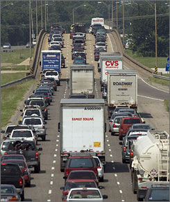 Traffic backs up along westbound Interstate 10 as residents of the New Orleans area evacuate.