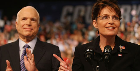 Alaska Gov. Sarah Palin, right, speaks Friday at a campaign rally in Dayton, Ohio. John McCain, left, announced her as his vice presidential running mate a few days before the scheduled start of the Republican National Convention.