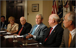 President Bush said Tuesday that although the damage by Hurricane Gustav to U.S. oil production has not yet fully been assessed, the storm should prompt Congress to approve more domestic oil production. Here, the president is seen at a briefing on Hurricane Gustav at the White House Tuesday morning with Vice President Dick Cheney and other advisers.