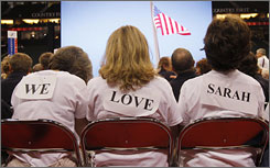 Supporters of Alaska Gov. Sarah Palin display their support at the Republican National Convention in St Paul on Monday.