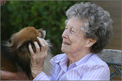 Phyllis Cornish, a resident at the Silverado center, pets a Pomeranian named Dakota.