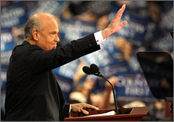 Actor and former Sen. Fred Thompson acknowledges the Xcel Energy Center crowd on day two of the Republican National Convention in St. Paul.