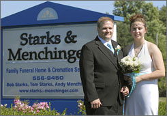 Jason and Rachel Storm were married Saturday at the St. Joseph, Mich. funeral home where Storm works as a funeral director.