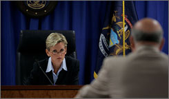 Michigan Gov. Jennifer Granholm, left, heads a public hearing in Detroit Wednesday to determine whether Mayor Kwame Kilpatrick should be removed from office.