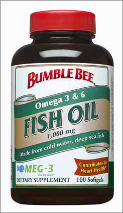 Fish oil capsules distributed by Bumble Bee Seafoods.