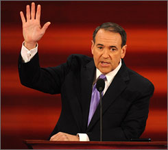 In his convention speech Wednesday, former Arkansas governor Mike Huckabee attacked Sen. Barack Obama's record and backed Alaska Gov. Sarah Palin's experience for the ticket.