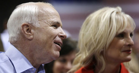 Sen. John McCain and wife Cindy visit volunteers preparing Gulf Coast relief supplies in Minneapolis on Wednesday.