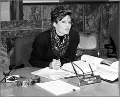 This Oct. 1996, file photo shows Sarah Palin  then mayor of Wasilla, Alaska  in her office.