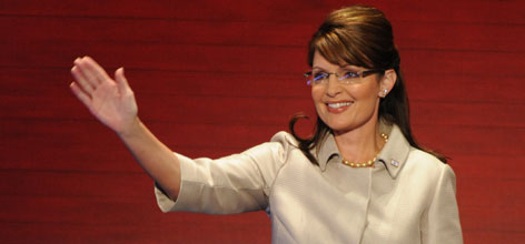 Alaska Governor Sarah Palin arrives onstage before giving her speech Wednesday to the Republican National Convention in St. Paul. Palin delivered pointed attacks at Democratic nominee Barack Obama.