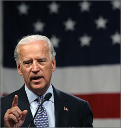 Democratic vice presidential nominee Sen. Joe Biden meets with veterans and residents at a convention center in Virginia Beach, on Thursday.