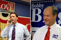 Congressional candidates Jay Love, left, and Bobby Bright in their respective campaign headquarters.