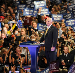 Republican presidential nominee Sen. John McCain greets the delegates at his acceptance speech Thursday night in St. Paul.