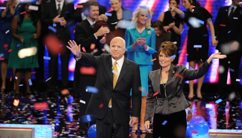 Republican presidential nominee Sen. John McCain and running mate Alaska Gov. Sarah Palin greet supporters after McCain's acceptance speech Thursday night in St. Paul.
