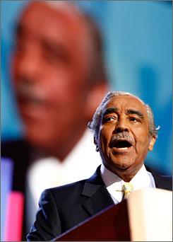 Rep. Charles Rangel, D-N.Y., seen here speaking during the Democratic National Convention in Denver on Aug. 26, did not pay interest on a mortgage for a beach house in the Dominican Republic that he owns, his lawyer says.