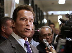 "California Gov. Arnold Schwarzenegger tells reporters that he would not be intimidated by the threat of a recall, outside his Capitol office in Sacramento on Monday. The California Correctional Peace Officers Association announced Monday in a petition that they would begin take action to seek a recall of Schwarzenegger for ""catastrophic leadership failings and inept management."""