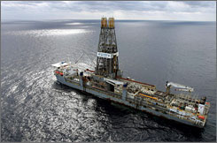 The Discoverer Deep Seas drillship sits on station off the coast of Louisiana as Chevron drills for oil in the Gulf of Mexico in March 2006.  As the House and Senate reconvened Monday after back-to-back political conventions, both parties are eager to use the three-week session to show voters why their candidates are the ones to fix the economy and lower energy prices.