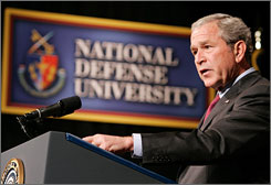 President Bush announced during a speech at National Defense University in Washington on Tuesday that he plans to pull 8,000 more troops out of Iraq by early next year.