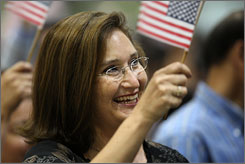 Sania Stiles, who came to the USA from Mexico eight years ago, is sworn in Aug. 28 in Los Angeles.