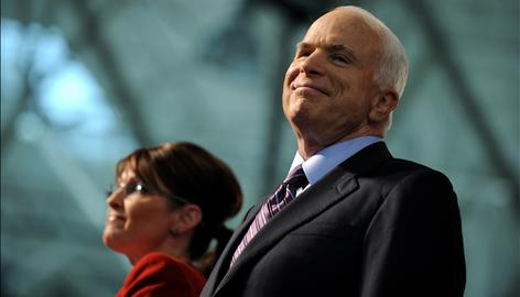 Republican presidential candidate John McCain and his running mate Sarah Palin campaign Tuesday in Lancaster, Pa.