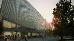 This artist's rendering provided by the National September 11 Memorial & Museum shows the museum's proposed entrance pavilion at dusk. The museum unveiled the design Tuesday and repeated hopes that a new construction schedule would allow the memorial to open by the attacks' 10th anniversary.