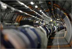 "Scientists launched an ""Alice in Wonderland"" experiment Wednesday near Geneva, Switzerland, launching beams of protons through the 17-mile tunnel."