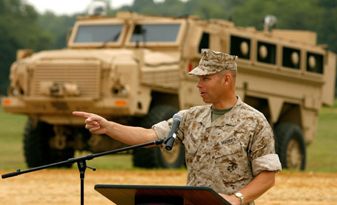 Gen. Michael Brogan answers questions during a demonstration of the Mine Resistant Ambush Protected vehicle (MRAP) at Aberdeen Proving Ground in 2007.