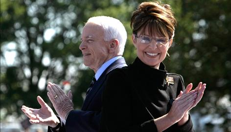"Republican presidential candidate John McCain and his running mate Sarah Palin campaign Wednesday in Fairfax, Va. The McCain campaign criticized opponent Barack Obama's use of the phrase ""lipstick on a pig"" as offensive to Palin."