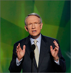 Senate Majority Leader Harry Reid, D-Nev., will reportedly push this year for a nuclear accord with India. Here, Reid is seen speaking during the Democratic National Convention in Denver on Aug. 28.
