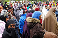 Muslim employees have clashed with the JBS Swift & Co. meatpacking plant in Greeley, Colo., over taking breaks to offer prayers, as called for by their religion. Here, some of the employees are seen gathering  at Lincoln Park in Greeley.