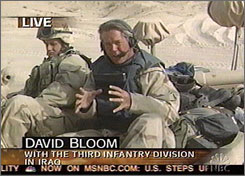 NBC correspondent David Bloom died of a pulmonary embolism after his blood clotted from sitting for an extended period in tanks.