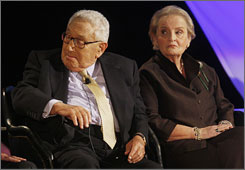 Former Secretaries of State Henry Kissinger, left, and Madeleine Albright are pictured in Washington before a discussion with former Secretaries of State at the taping of CNN's The Next President: A World of Challenges.