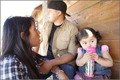 Then 17-month-old Lexie Jade Melendez drinks from a stainless steel sippy cup on an outing with parents Melissa and Omar Melendez, both 25, in Lathrop, Calif. Since learning of the chemical BPA, Melissa Melendez has stopped using baby bottles containing the chemical.