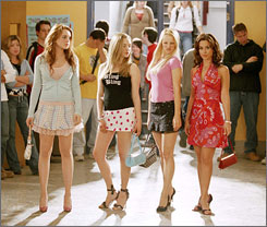 Researchers showed a clip from Mean Girls, starring Lindsay Lohan, left, Amanda Seyfried, Rachel McAdams and Lacey Chabert.