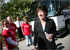 Sen. Susan Collins concludes a tour of the Maine Medical Center Research Institute in Scarborough, Maine.