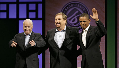 Presidential candidates John McCain and Barack Obama discussed faith moderated by pastor Rick Warren at Saddleback Church on Aug. 16.