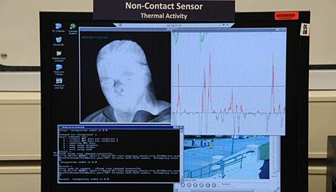 The Future Attribute ScreeningTechnology (FAST) system displays biometric data including bodytemperature.