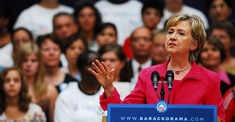 Sen. Hillary Rodham Clinton campaigns for Barack Obama at Elyria, Ohio, Sept. 14. When the Baylor Survey was taken, Clinton was running for the White House but not Sarah Palin.