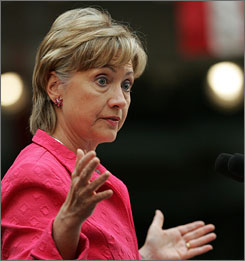 Hillary Clinton speaks in Elyria, Ohio, Sunday, Sept. 14, 2008, during a rally supporting the Obama/Biden ticket for the Democratic Party. Clinton pulled out of an upcoming  anti-Iran rally when she learned Republican vice president nominee Gov. Sarah Palin would also attend.