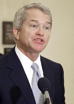 In this March 16, 2004 file photo, Rep. Mark Foley, R-Fla. speaks at a news conference in Tallahassee, Fla.
