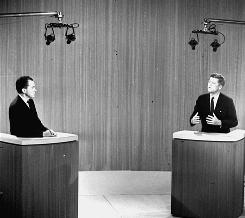 Sen. John F. Kennedy and Vice President Richard M. Nixon debate in 1960. The first set of televised debates exposed the importance of physical appearance in voters' perception of the candidates.