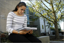 Jenna Stroller, a freshman at Cornell University, who tested positive for a gene that puts her at a higher risk for breast and ovarian cancer, is seen on campus in Ithaca, N.Y., on Wednesday.