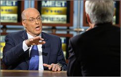 "Treasury Secretary Henry Paulson appears on ""Meet the Press"" with Tom Brokaw on Sunday."