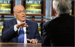 "Treasury Secretary Henry Paulson appears on ""Meet the Press"" with Tom Brokaw on Sunday."