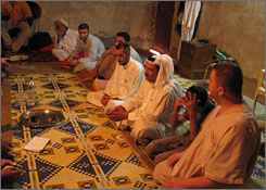 Top leaders of the Awakening Council of Diyala province discuss strategy in the rural village of Isfayt, north of Baqouba.