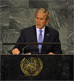 President Bush told the U.N. General Assembly on Tuesday that he is confident Congress will come together to pass a $700 financial bailout bill.