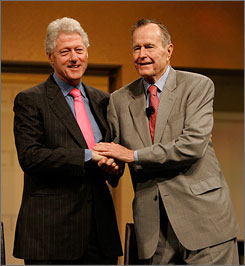 Former presidents Bill Clinton, left, and George H.W. Bush plan to team up to provide assistants to people whose lives were upended by Hurricane Ike. Here, the two are seen after making speeches at a communications convention in Orlando in March 2007.